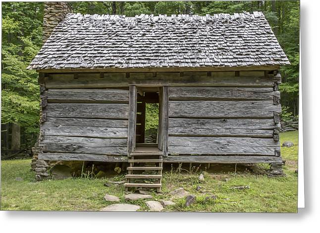 Log Cabins Greeting Cards - smokey mountains Tennessee log cabin cades cove  Greeting Card by Samuel  Gibbs