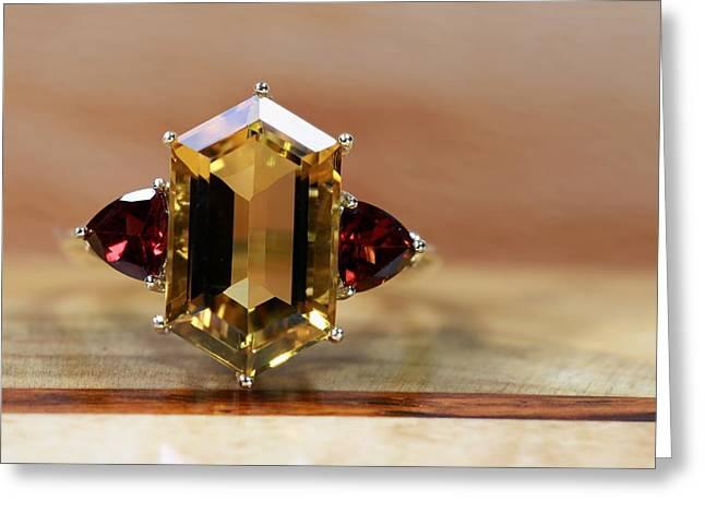 Gold Jewelry Greeting Cards - Smokey Quartz Red Garnet Greeting Card by Gary Yost