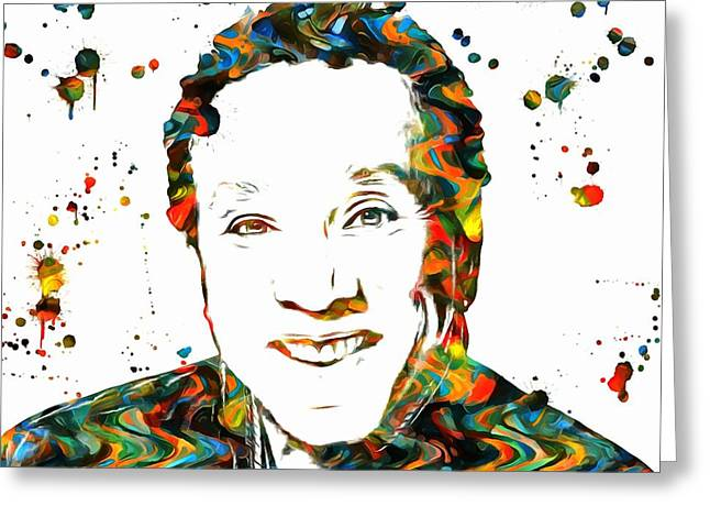 Rhythm And Blues Mixed Media Greeting Cards - Smokey Robinson Paint Splatter Greeting Card by Dan Sproul
