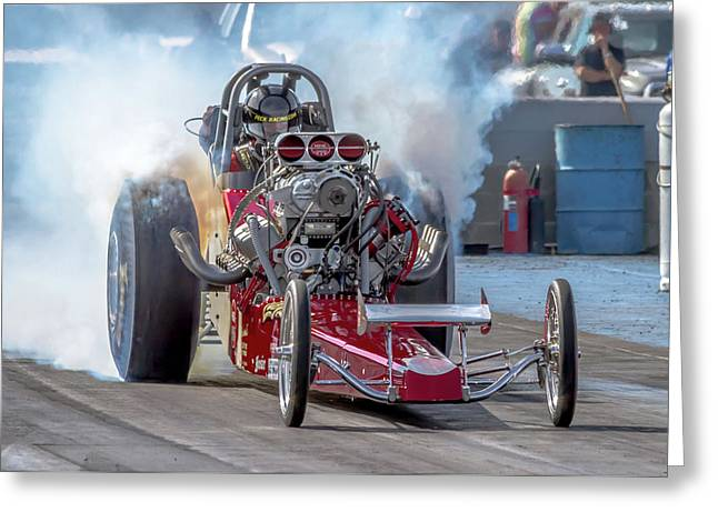 Smokin' Tires Greeting Card by Bill Gallagher