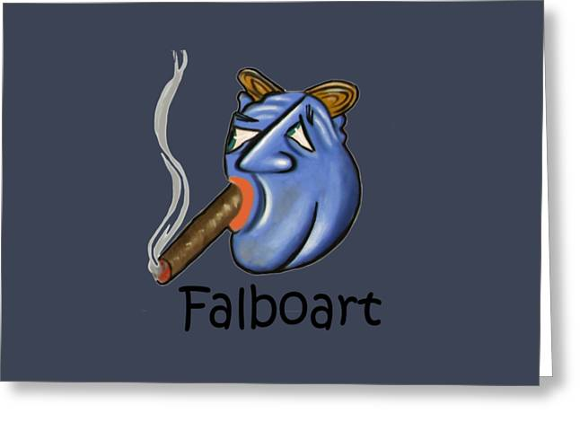 Smoking Greeting Cards - Smoking Blue Man Greeting Card by Anthony Falbo