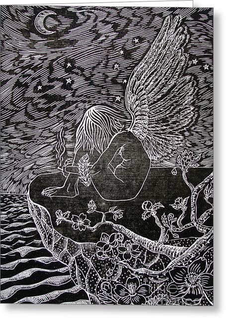 Moon Beach Drawings Greeting Cards - Smoking Break Black And White Greeting Card by Iglika Milcheva-Godfrey
