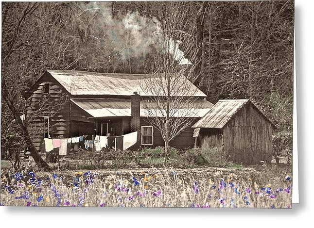 Tin Roof Greeting Cards - Smoking Cabin Greeting Card by Wayne Marsh