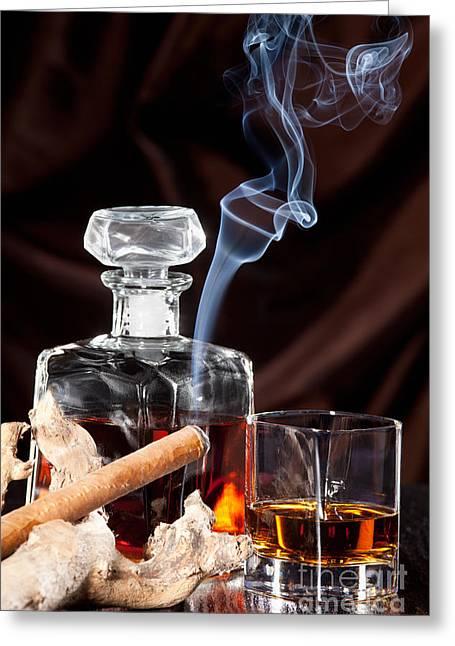 Lifestyle Greeting Cards - Smoking cigar and whiskey in glass Greeting Card by Wolfgang Steiner