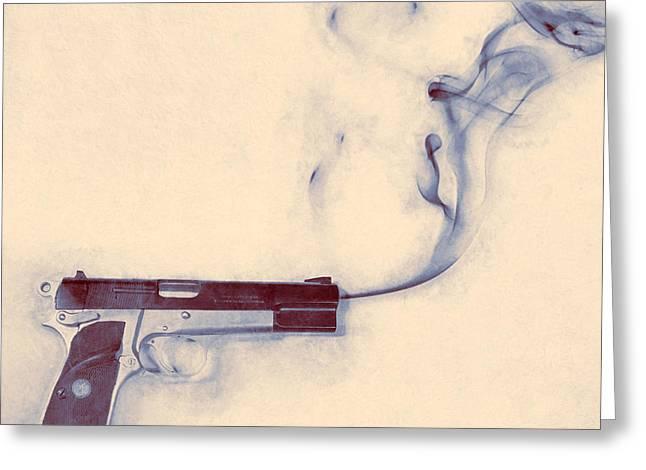 Smoking Gun Greeting Card by Scott Norris
