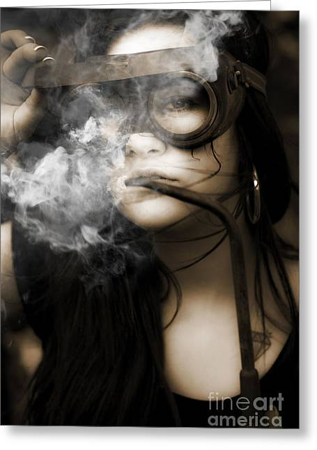 Smoking Hot Industrial Worker Greeting Card by Jorgo Photography - Wall Art Gallery