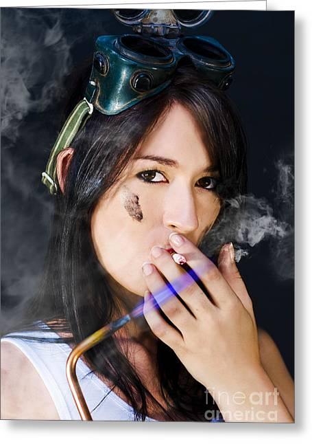 Desirable Greeting Cards - Smoking Hot Mechanic Greeting Card by Ryan Jorgensen