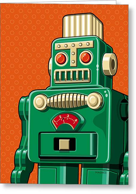 Robots Greeting Cards - Smoking Robot Greeting Card by Ron Magnes