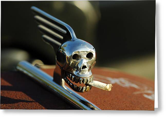 Hot Rod Photography Greeting Cards - Smoking Skull Hood Ornament Greeting Card by Jill Reger