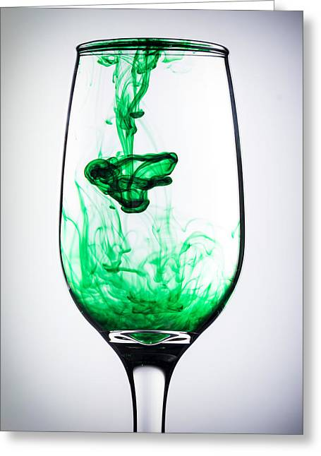 Wine-glass Greeting Cards - Smoky Glass- Green Greeting Card by Matt Hammerstein