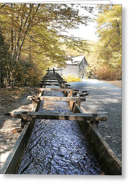Grist Mill Greeting Cards - Smoky Grist Mill Greeting Card by Elizabeth Knipes