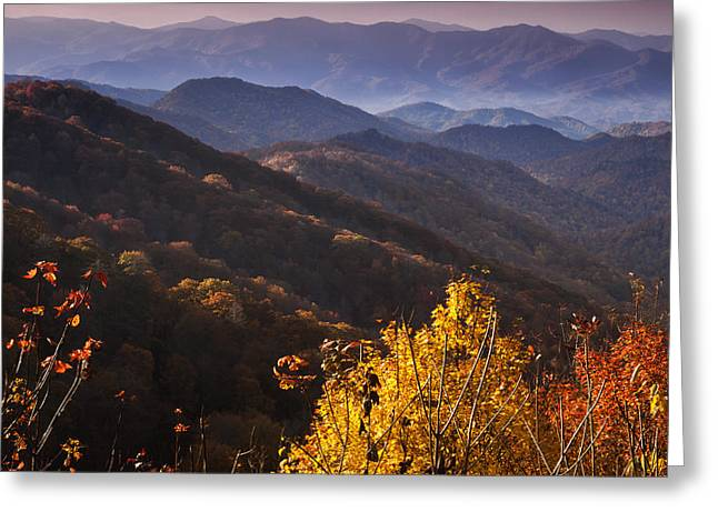 Smoky Mountain Hillsides At Autumn Greeting Card by Andrew Soundarajan