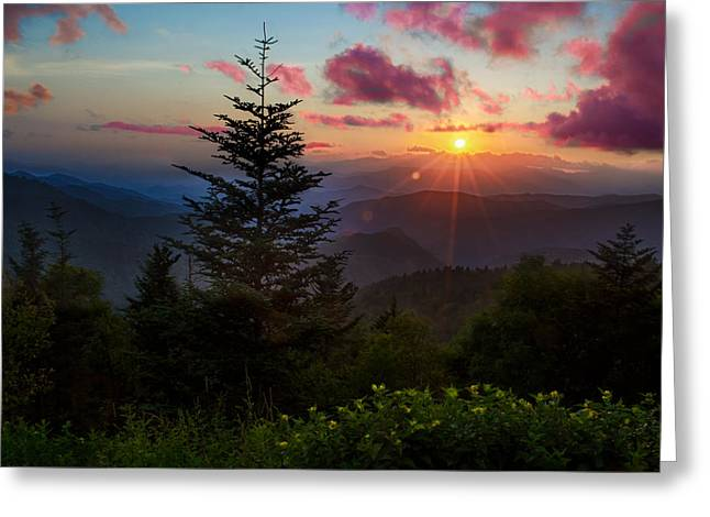 Smoky Mountain Sunset Greeting Card by Christopher Mobley