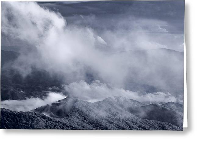 Smoky Mountain Vista In B And W Greeting Card by Steve Gadomski