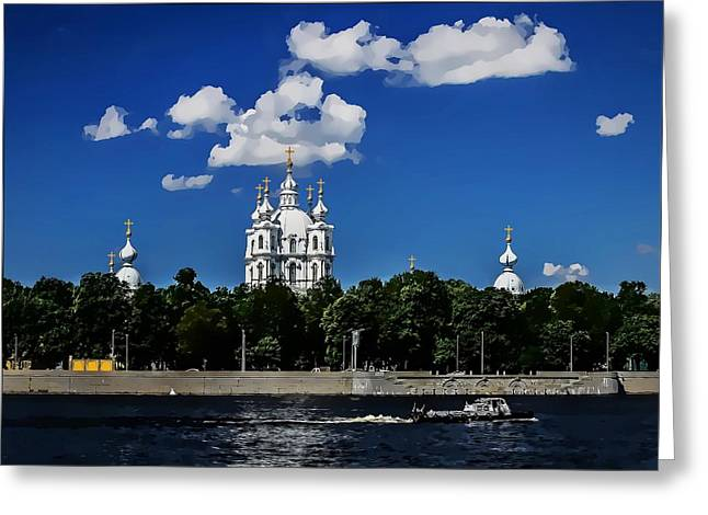 Religion Greeting Cards - Smolny Cathedral Greeting Card by Alexey Bazhan