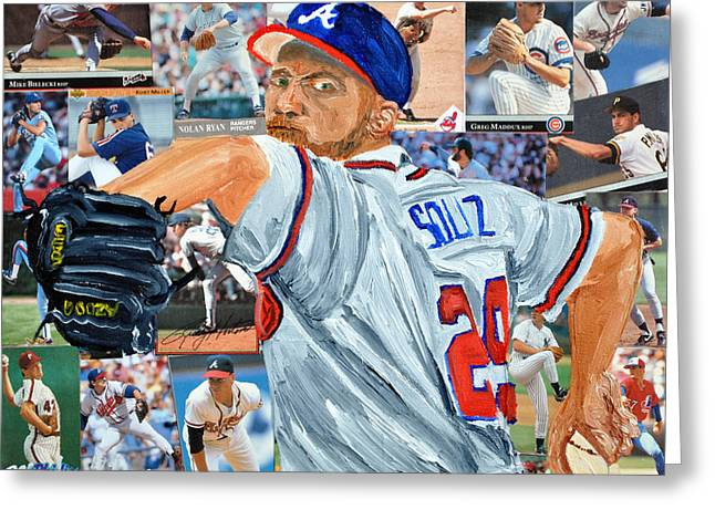 Smoltz Greeting Card by Michael Lee