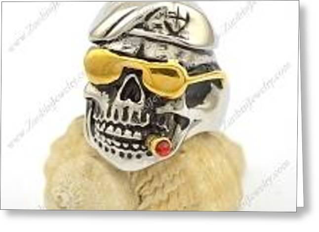 Men Jewelry Greeting Cards - Smooking Skull wearing Instyle Golded Glasses Ring r002775 Greeting Card by ZuoBiSiJewelry