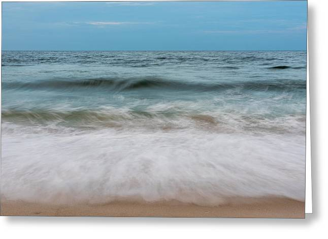 Ocean Art. Beach Decor Greeting Cards - Smooth Blue Wave Seaside NJ Greeting Card by Terry DeLuco