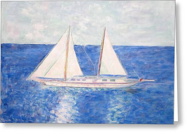Sailing Around Greek Islands Greeting Card by Glenda Crigger