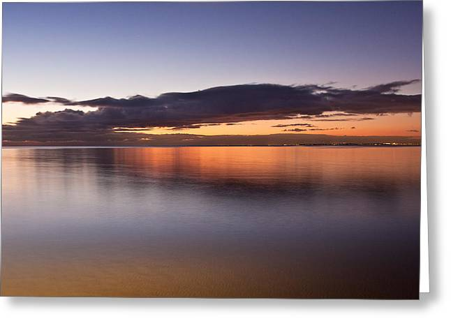 Surf City Greeting Cards - Smooth water surface in orange sunset  colors Greeting Card by Greg Brave