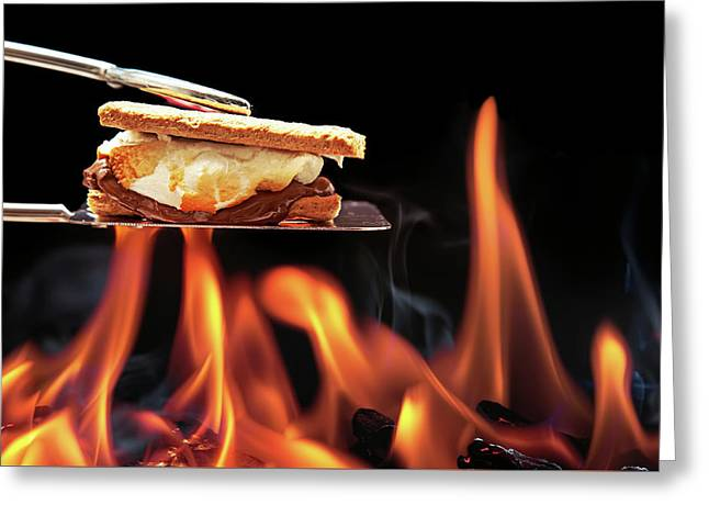 Smore Cooking Over Campfire Greeting Card by Susan Schmitz