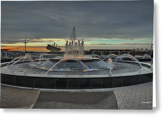 Smothers Park Fountain Greeting Card by Wendell Thompson
