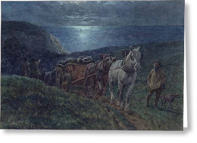 Horse Pulling Wagon Greeting Cards - Smugglers Greeting Card by William Barnes Wollen