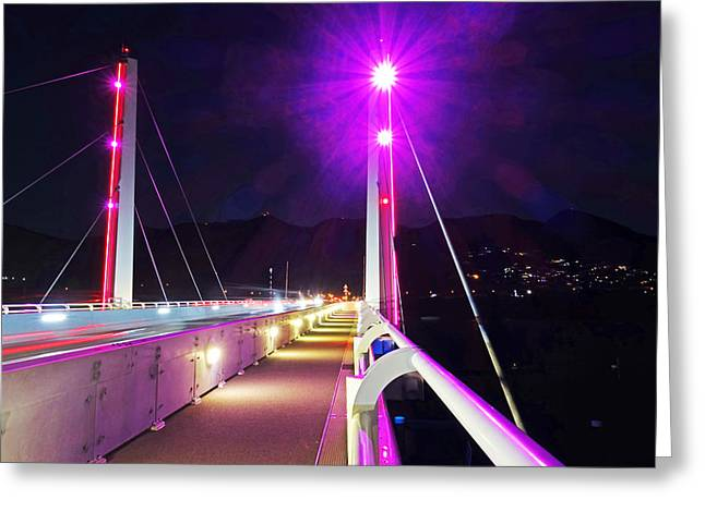 Saint-martin Greeting Cards - SXM Saint Martin Bridge Lit up at night Greeting Card by Toby McGuire