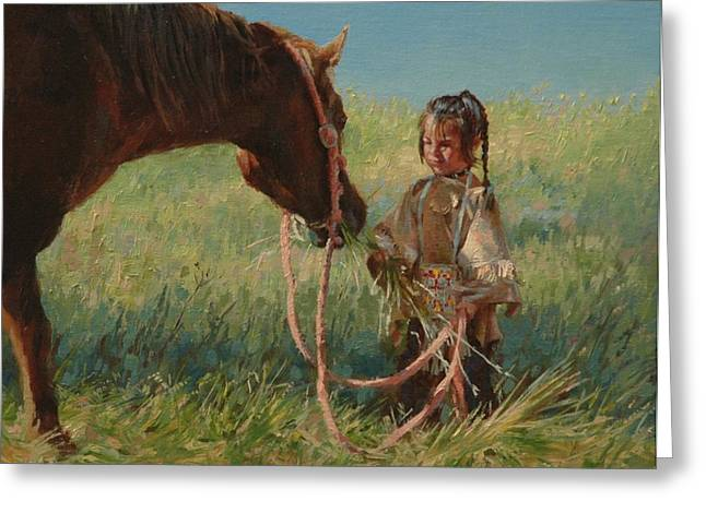Sioux Greeting Cards - Snack Time Greeting Card by Jim Clements