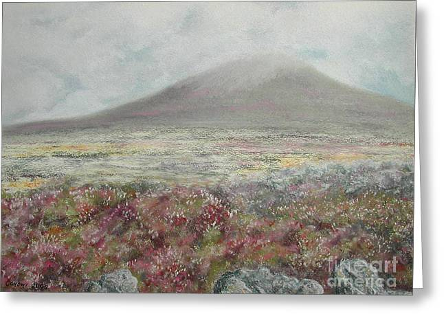 Motorcycle Pastels Greeting Cards - Snaefell Heather Greeting Card by Stanza Widen