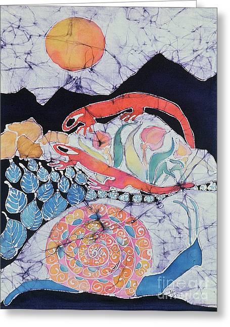 Amphibians Tapestries - Textiles Greeting Cards - Snail with Red Efts Greeting Card by Carol  Law Conklin