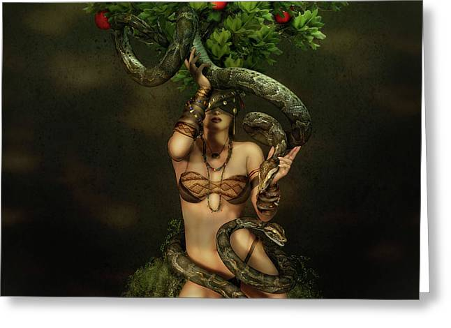 Reptiles Digital Art Greeting Cards - Snake Charmer Greeting Card by Shanina Conway