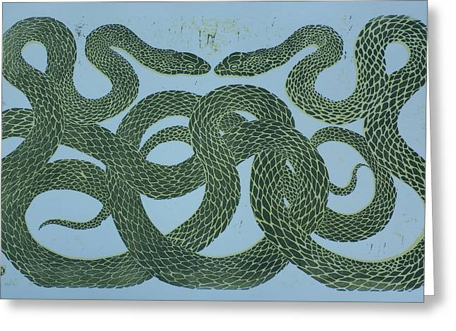 Lino Mixed Media Greeting Cards - Snake Council Greeting Card by Pati Hays