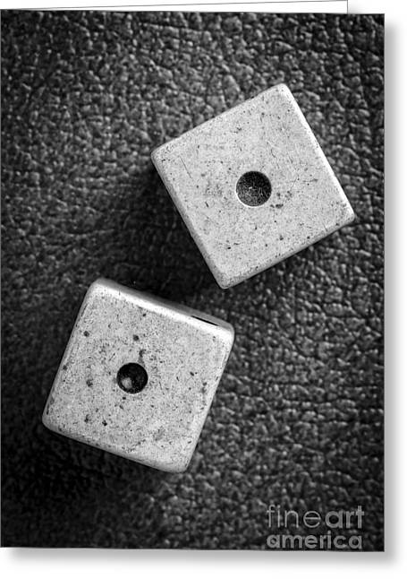 Gambler Greeting Cards - Snake Eyes Dice Roll Greeting Card by Edward Fielding