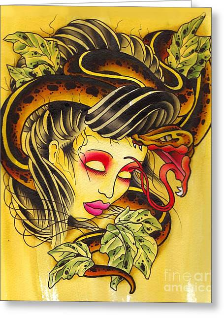 Tattoo Flash Paintings Greeting Cards - Snake Head Girl Greeting Card by Lauren B