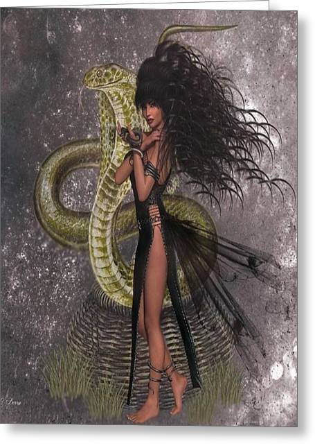 Snake Lady Greeting Card by G Berry