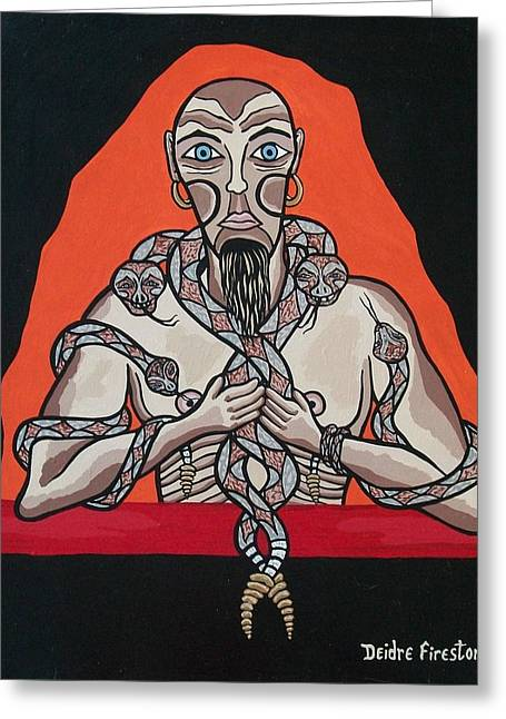 Snakes In Art Greeting Cards - Snake Mans Twisted Desires Greeting Card by Deidre Firestone