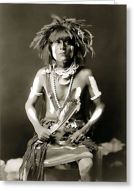 Snake Priest  - Hopi Tribe C. 1900 Greeting Card by Daniel Hagerman