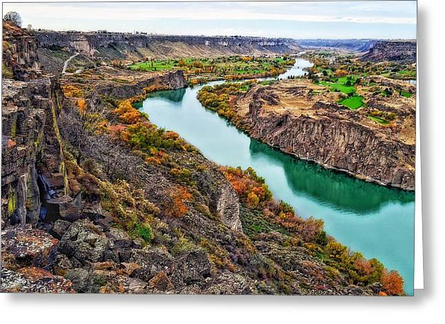 Boats In Water Greeting Cards - Snake River Canyon Greeting Card by Sue Small
