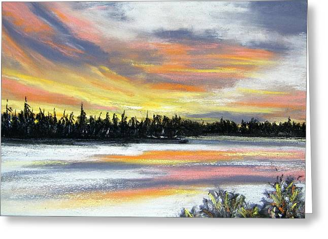 Snakes Pastels Greeting Cards - Snake River Sunset Greeting Card by Gale Cochran-Smith