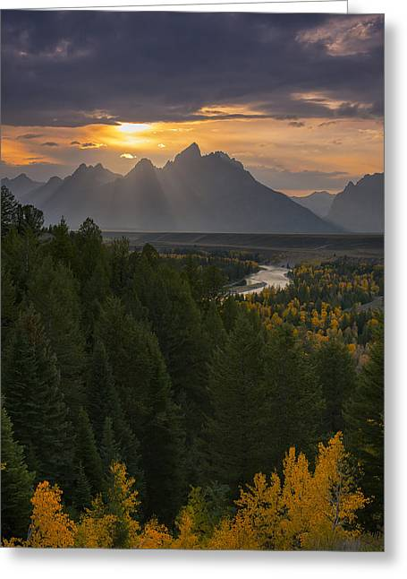 Grand Teton Greeting Cards - Snake River Sunset Greeting Card by Joseph Rossbach