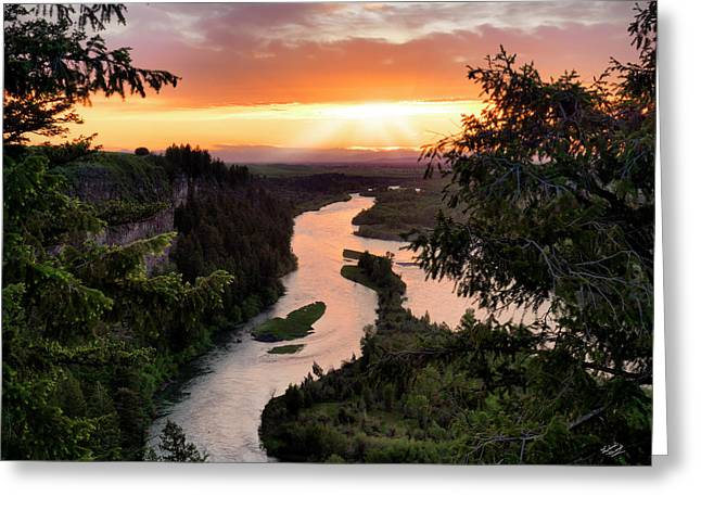 Snake River Sunset Greeting Card by Leland D Howard