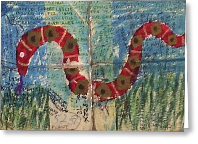 Snakes In Art Greeting Cards - Snake Greeting Card by William Douglas