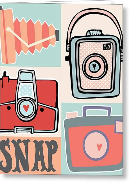 Camera Greeting Cards - Snap - Vintage Cameras Greeting Card by Colleen Van Tassell