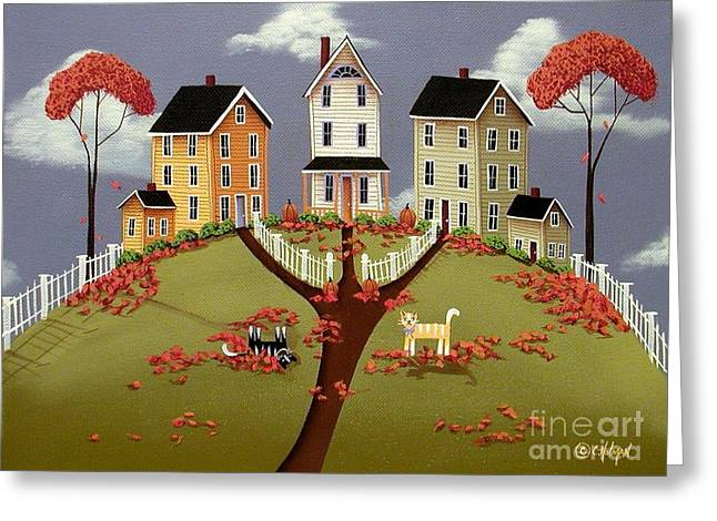 Naive Art Greeting Cards - Snicker and Doodle Greeting Card by Catherine Holman