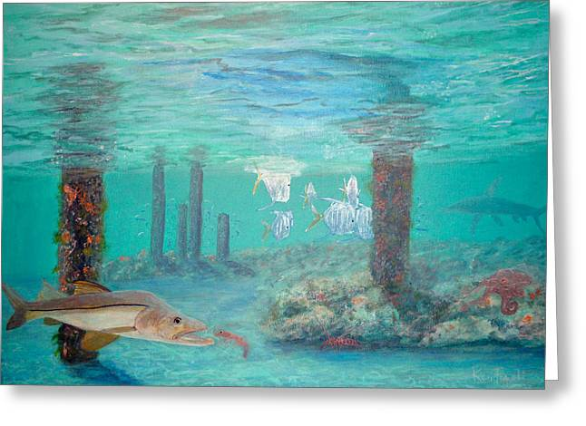 Wahoo Greeting Cards - Snook Painting Greeting Card by Ken Figurski