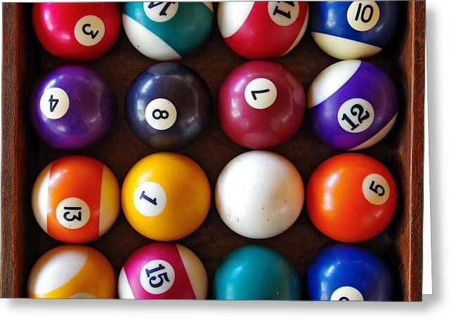 Black Top Greeting Cards - Snooker Balls Greeting Card by Carlos Caetano