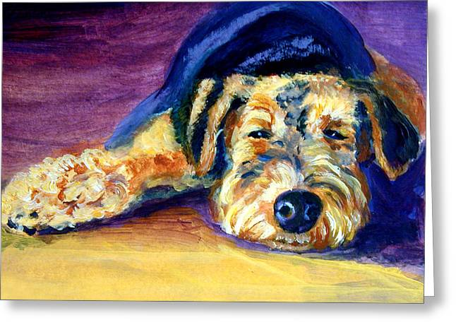 Pet Greeting Cards - Snooze Airedale Terrier Greeting Card by Lyn Cook