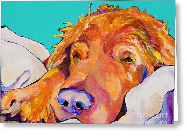 Sleeping Dogs Greeting Cards - Snoozer King Greeting Card by Pat Saunders-White