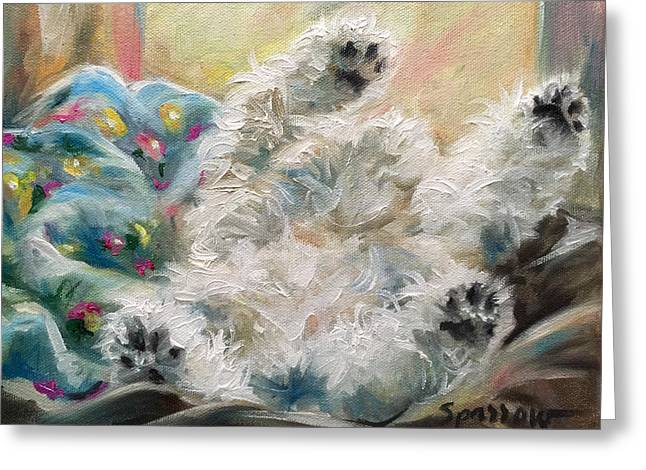 Snoozing Greeting Card by Mary Sparrow